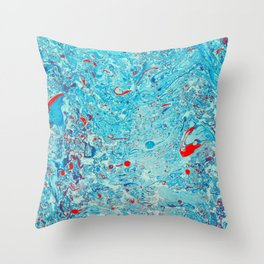 Abstract water, blue and red. Throw Pillow