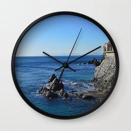 Amazing sea landcape from Genova , Italy Wall Clock