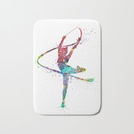 Rhythmic Gymnastics Print Sports Print Watercolor Print Bath Mat