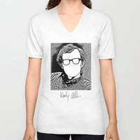 woody allen V-neck T-shirts featuring Woody Allen by totemxtotem