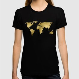 Gold Foil Map - Metallic Globe Design T-shirt