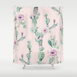 Cactus Rose Pattern on Pink Shower Curtain
