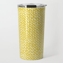 Hand Knit Yellow Travel Mug
