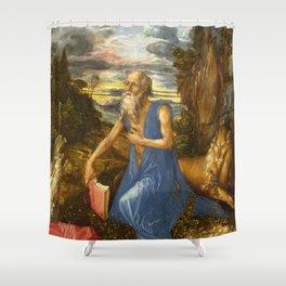 Saint Jerome in the Wilderness by Albrecht Dürer Shower Curtain