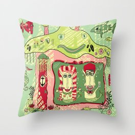 Sea Home of the Hipster Mer-Couple Throw Pillow