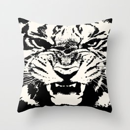 White Tiger Vector Throw Pillow