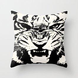 White Tiger Vector Throw Pillow