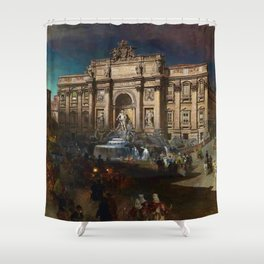 La Fontana di Trevi (Fountain of Trevi) at Moonlight by Oswald Achenbach Shower Curtain
