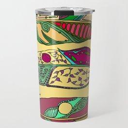 Bohemian Feathers on Honey Yellow - Hand-drawn Illustration Travel Mug