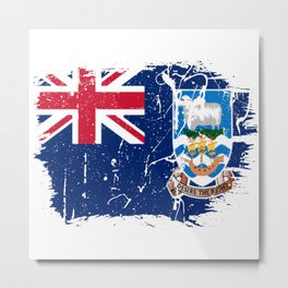 Distressed Falkland Islands Malvinas Flag Graffiti Metal Print