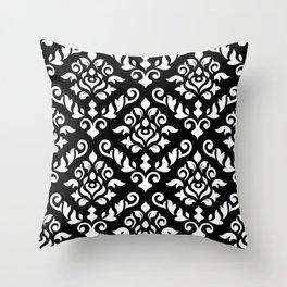 Damask Baroque Pattern White on Black Throw Pillow