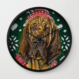 Bloodhound in a Hat and Scarf Wall Clock