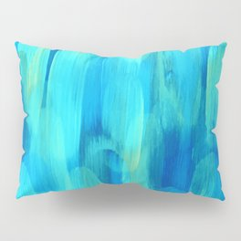 Abstract Layered Brush Texture Ocean Eyes Color Blue Green Shade Pillow Sham