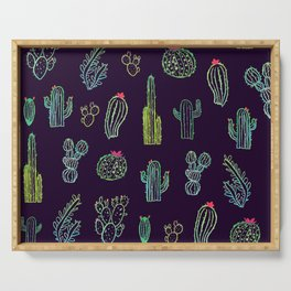 Dark Watercolour Cactus Serving Tray