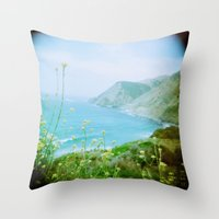 big sur Throw Pillows featuring Big Sur by The Dalai Lomo