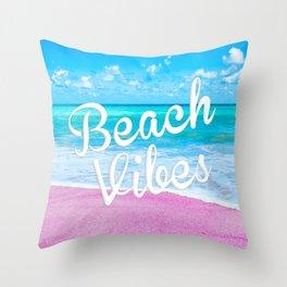 Pink Sand Beach Vibes Throw Pillow