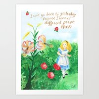I Can't Go Back To Yesterday - Alice Quote Art Print