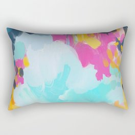 Blooms in storm- abstract pink, blue and teal  Rectangular Pillow