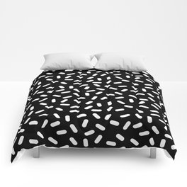 Bingo - black and white sprinkle retro modern pattern print monochromatic trendy hipster 80s style Comforters