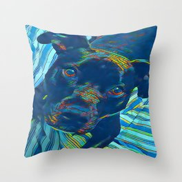 Pittie series from our POP YOUR POOCH line Throw Pillow