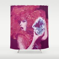 bjork Shower Curtains featuring Bjork Low Poly Collection by Giselle LowPoly