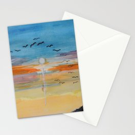 Birds and sunset Stationery Cards