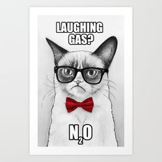 Grumpy Chemistry Cat Geek Science Meme Whimsical Animals in Glasses Art Print