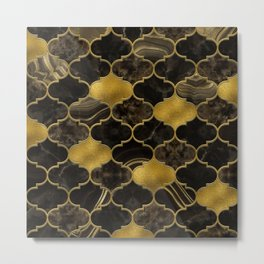 Moroccan trellis Black Marble and Gold Metal Print