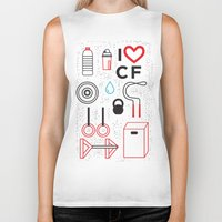 crossfit Biker Tanks featuring CrossFit Love by Golden Heart