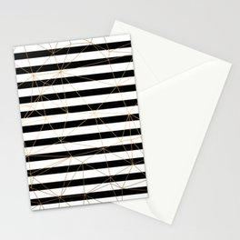 Gold Geometric Pattern Black and White Stripes Stationery Cards