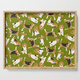beagle scatter green Serving Tray