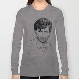 David Tennant as Broadchurch's Alec Hardy (or Gracepoint's Emmett Carver) Etching Long Sleeve T-shirt