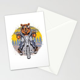 Cool Bear Motorcycle Rider on Bike for Motorcycle and Bear Lover Stationery Cards