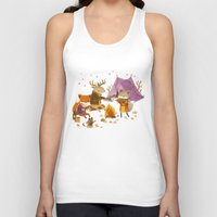 fall Tank Tops featuring Critters: Fall Camping by Teagan White
