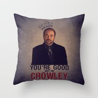crowley Throw Pillows featuring I'm Crowley - Supernatural by KanaHyde