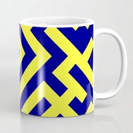 Electric Yellow and Navy Blue Diagonal Labyrinth Coffee Mug