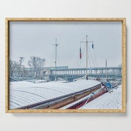 Snowfall over Pont Bir-Hakeim - Paris Serving Tray