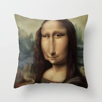 mona lisa Throw Pillows featuring Mona Lisa by Alexander Novoseltsev
