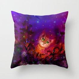Night Cat 1 Throw Pillow