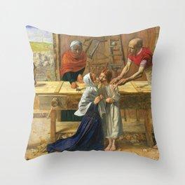 John Everett Millais - Christ in the House of His Parents Throw Pillow