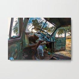 Sun-rays and steering wheel Metal Print