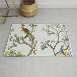 Chinoiserie Panels 4-5 Silver Gray Raw Silk - Casart Scenoiserie Collection Rug
