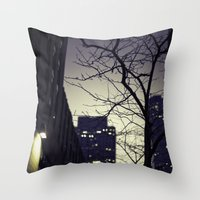 30 rock Throw Pillows featuring Morning  at 30 Rock by Benjamin Hunter