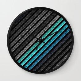 stripeS : Slate Gray Teal Blue Pixels Wall Clock