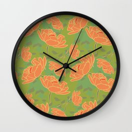 Summer flowers (orange&green) Wall Clock