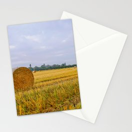 Hay bales in the Lomellina countryside during autumn Stationery Cards