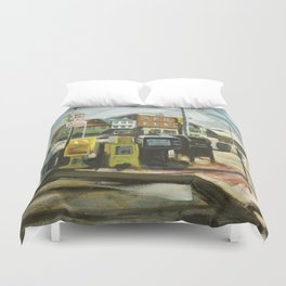 Newspaper Depot on America's Cup Avenue, afternoon sun, Fall 1997 Duvet Cover