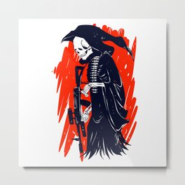 Military skeleton - grim soldier - gothic reaper Metal Print