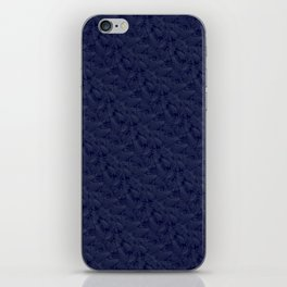 Muted '90s Fern Background Grid at Dusk – Deep Blue iPhone Skin