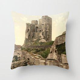 Vintage Photo-Print of Scarborough Castle (1900) Throw Pillow